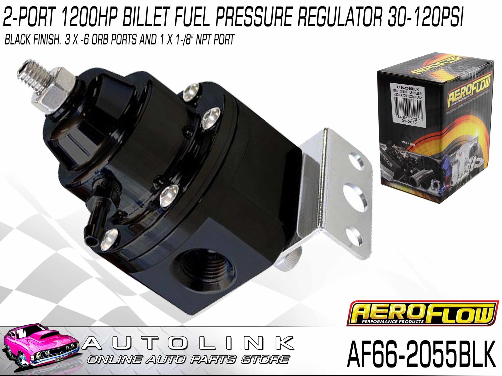 "Aeroflow Blue Billet 2 Port Carby Fuel Pressure Regulator FPR 1-4 PSI 3//8/"" NPT"