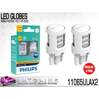 PHILIPS LED INTENSE AMBER INDICATOR LIGHT GLOBES 12V T20 TWIN PACK 11065ULAX2