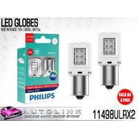 PHILIPS LED RED INTENSE STOP LIGHT GLOBES 12V P21 BA15s TWIN PACK 11498ULRX2