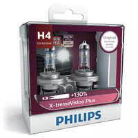 PHILIPS H4 12V 60/55W X-TREME VISION +130% - EXTRA LIGHT & BEAM DISTANCE PAIR
