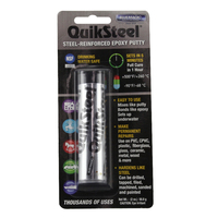 QUIKSTEEL REINFORCED EPOXY PUTTY 500° F / 260° C TEMP BONDS TO ALL METALS 16002