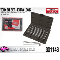 "TOLEDO 301143 TORX BIT SET - EXTRA LONG 3/8"" DRIVE 200mm LENGTH 10PC"