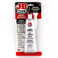 J-B WELD WHITE SILICONE - RTV , WATERPROOF SEALANT, MOULD RESISTANT - SETS 1HR