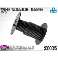 "CODAN VACUUM & WASHER BLACK RUBBER HOSE 2.5mm OR 7/64"" 15 METRE ROLL 3300025"