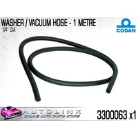"CODAN VACUUM & WASHER RUBBER HOSE 6.3mm OR 1/4"" DIA. 1 METER LENGTH 3300063"