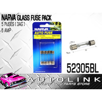 NARVA 52305BL GLASS FUSE PACK 5 AMP 3AG 5 PACK