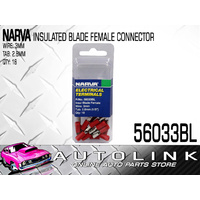 NARVA 56033BL CRIMP TERMINALS RED FEMALE BLADE WIRE 2.5 - 3mm TAB 3mm x18