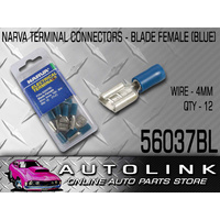 NARVA 56037BL CRIMP TERMINALS FEMALE BLADE INSULATED BLUE 4mm WIRE 8mm TAB