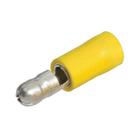NARVA CRIMP TERMINALS MALE BULLET INSULATED YELLOW 5 6mm WIRE 5mm TAB DIA QTY 8