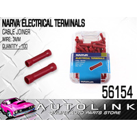 NARVA 56154 TERMINALS CABLE JOINER INSULATED - WIRE 2.5 - 3mm RED PACK OF 100