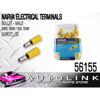 NARVA 56155 CRIMP TERMINALS BULLET MALE - WIRE 6mm TAB 5mm YELLOW 50 PACK