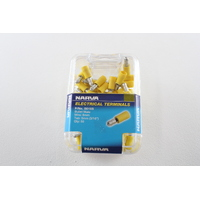 NARVA 56155 TERMINALS BULLET MALE - WIRE 6mm TAB 5mm YELLOW PACK OF 50