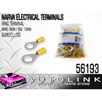 NARVA 56193 TERMINALS RING TYPE - WIRE 6mm TAB 13mm YELLOW PACK OF 100