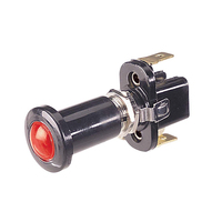 NARVA ILLUMINATED PUSH PULL SWITCH - RED 10 AMP 12 VOLT MOUNT OPENING 12.2mm