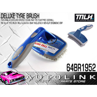 DELUXE TYRE BRUSH - CONTOURED BRISTLE DESIGN FOR TYRE SIDWALLS , NON SLIP HANDLE