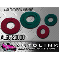 ANTI CORROSION WASHERS 1 PAIR PER PACK RED & GREEN HELPS STOP CORROSION BUILD UP
