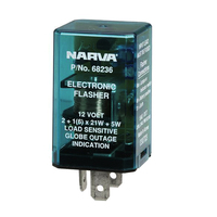 NARVA 12 VOLT 3 PIN ELECTRONIC FLASHER - LOAD SENSITIVE TYPE GLOBE OUTAGE IND