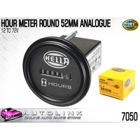 HELLA HOUR METER ANALOGUE DISPLAY 12V to 60V DC 52mm MOUNT DIA 7050