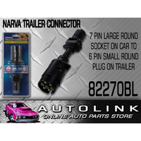 NARVA 82270BL TRAILER ADAPTOR 7 PIN LARGE ROUND SOCKET TO 6 PIN SMALL ROUND PLUG