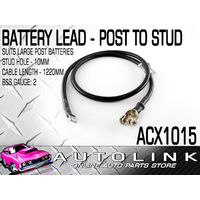 BATTERY LEAD POST TO STUD 1220MM LENGTH STUD HOLE 10MM ( B&S GAUGE: 2 ) ACX1015