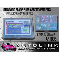 100 STD BLADE FUSE ASSORTMENT KIT INCLUDES FUSE TOOL CAR TRUCK BOAT