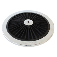 "AEROFLOW AF2851-0901 CHROME 9"" FULL FLOW WASHABLE AIR FILTER TOP LID PLATE"