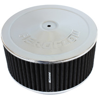 "AEROFLOW AF2851-1364 CHROME 9"" x 4"" AIR FILTER ASSEMBLY FOR DOMINATOR CARBY"