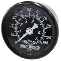 "Aeroflow AF30-2201 1-1/2"" Liquid Filled 100psi Pressure Gauge Black 1/8"" npt"
