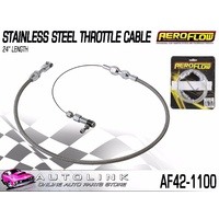 "AEROFLOW STAINLESS STEEL THROTTLE CABLE - 24"" LENGTH - COMPLETE WITH FITTINGS"