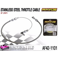 "AEROFLOW STAINLESS STEEL THROTTLE CABLE - 36"" LENGTH - COMPLETE WITH FITTINGS"