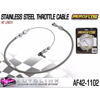 "AEROFLOW STAINLESS STEEL ACCELERATOR CABLE - 48"" LONG - INC HARDWARE"