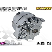 AEROFLOW PERFORMANCE ALTERNATOR CHROME 120AMP 1 WIRE FOR CHEV AF4870-1120