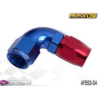 AEROFLOW  RED/BLUE ONE PIECE CUTTER FULL FLOW SWIVEL 90° HOSE END -4AN AF553-04