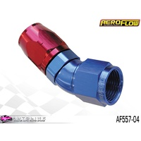 AEROFLOW RED/BLUE ONE PIECE FULL FLOW SWIVEL 30° HOSE END -04AN AF557-04