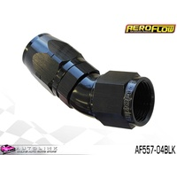 AEROFLOW BLACK ONE PIECE FULL FLOW SWIVEL 30° HOSE END -04AN AF557-04BLK