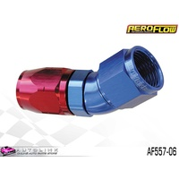 AEROFLOW RED/BLUE ONE PIECE FULL FLOW SWIVEL 30° HOSE END -06AN AF557-06