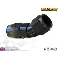 AEROFLOW BLACK ONE PIECE FULL FLOW SWIVEL 30° HOSE END -06AN AF557-06BLK