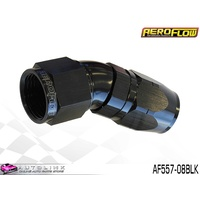 AEROFLOW BLACK ONE PIECE FULL FLOW SWIVEL 30° HOSE END -08AN AF557-08BLK