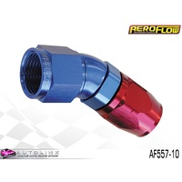 AEROFLOW RED/BLUE ONE PIECE FULL FLOW SWIVEL 30° HOSE END -10AN AF557-10