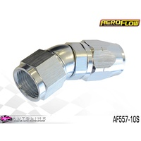 AEROFLOW SILVER ONE PIECE FULL FLOW SWIVEL 30° HOSE END -10AN AF557-10S