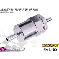 "AEROFLOW BILLET FUEL FILTER 30 MICRON 1/2"" PUSH ON HOSE BARB SILVER 2"" LONG AF610-08S"