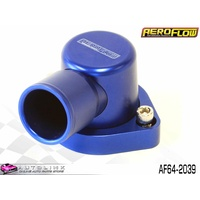 AEROFLOW BILLET 90° THERMOSTAT HOUSING BLUE FOR FORD V8 CLEVELAND AF64-2039
