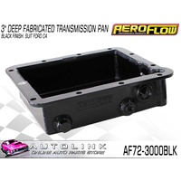 "AEROFLOW 3"" DEEP FABRICATED TRANSMISSION PAN BLACK FINISH FOR FORD C4"