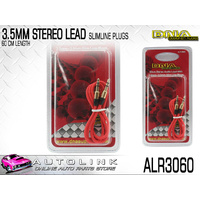 DNA 3.5 TO 3.5MM STEREO PLUG WITH SLIMLINE GOLD PLATED PLUGS, RED CABLE 60CM