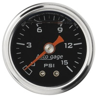 "AUTOMETER FUEL PRESSURE GAUGE 1-1/2"" LIQUID FILLED BLACK DIAL 0-15 PSI 2172"