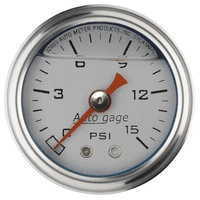"AUTOMETER 2178 FUEL PRESSURE GAUGE 1-1/2"" LIQUID FILLED SILVER DIAL 0-15 PSI"