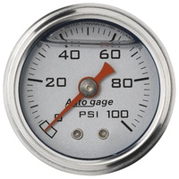 "AUTOMETER FUEL PRESSURE GAUGE 1-1/2"" LIQUID FILLED SILVER DIAL 0-100 PSI  2180"