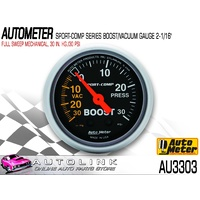 "AUTOMETER SPORT COMP 2-1/6"" FULL SWEEP MECHANICAL BOOST / VAC GAUGE AU3303"