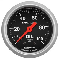 "AUTOMETER SPORT-COMP SERIES OIL PRESSURE GAUGE 2-1/16"" MECHANICAL 0-100PSI"