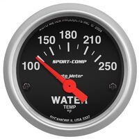 AUTOMETER 3337 WATER TEMPERATURE GAUGE BLACK FACE 2-1/6 OR 52.4mm 100 - 250 °F